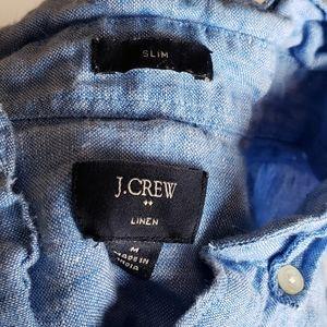 Vintage J.Crew Linen Button Down Short Sleeve Polo